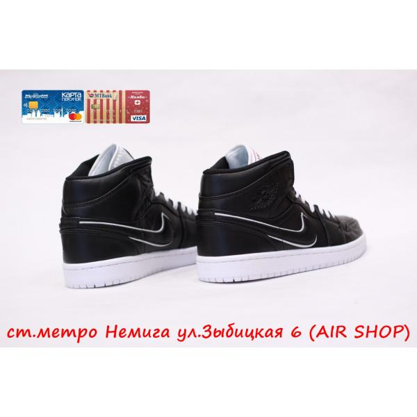 Кроссовки Nike Air Jordan 1 Black leather