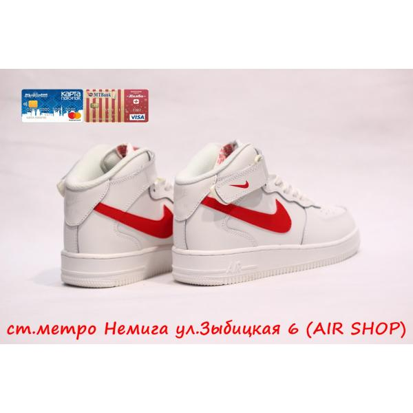 Кроссовки Nike Air Force Hi White/Red