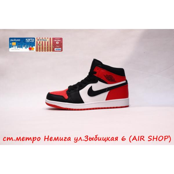 Кроссовки Nike Air Jordan 1 Red/Black (байка)