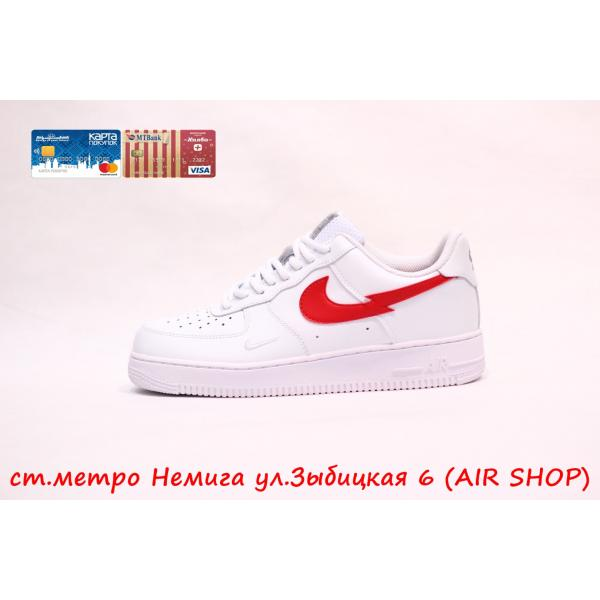 Кроссовки Nike Air Force 1 white/red New