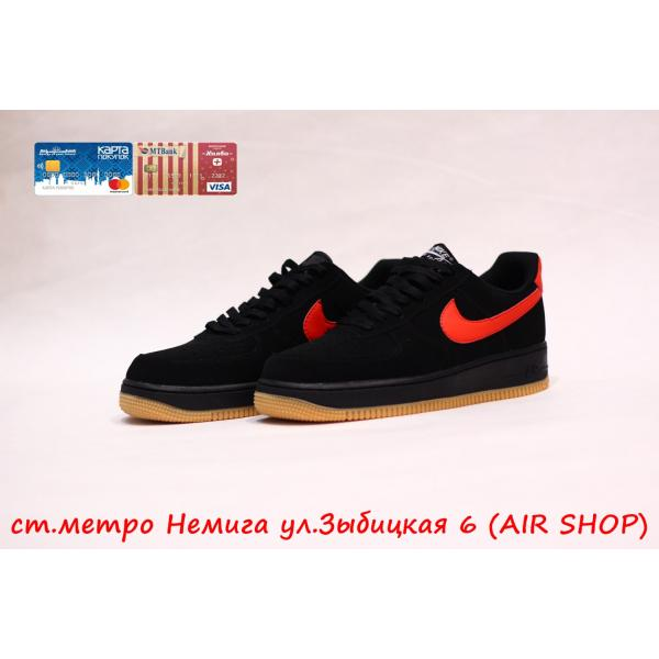 Кроссовки Nike Air Force 1 Suede Black/Red