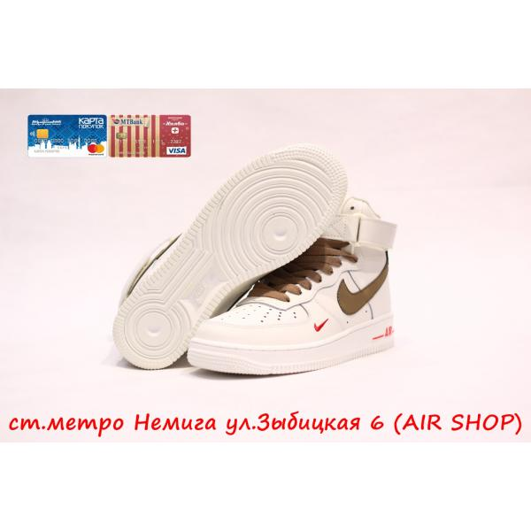 Кроссовки Nike Air Force 1 mid white/brown