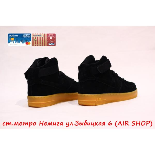 Кроссовки Nike Air Force 1 mid black suede